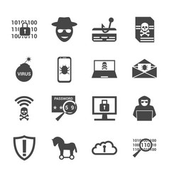 cyber crime and attack icons set vector image