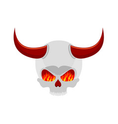 Demon skull with horns eyes of flame satan vector