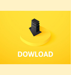 download isometric icon isolated on color vector image