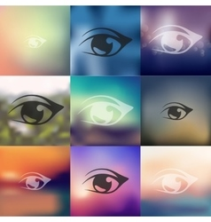 Eye icon on blurred background vector