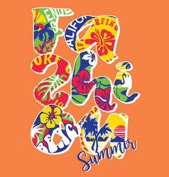 fashion summer lettering sticker patchwork vector image