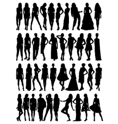 Female model silhouettes vector