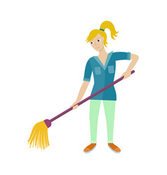 female worker of cleaning company with broom vector image