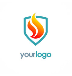 Fire shield logo vector