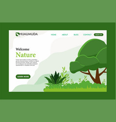 flat nature landing page website template vector image