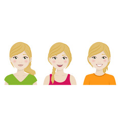foreground cute woman with different expressions vector image
