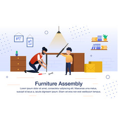 furniture assembly flat banner poster vector image