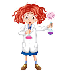Girl in science gown holding test tubes vector