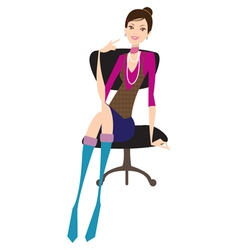 Girl sits on office chair vector image