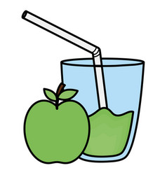 glass with juice apple vector image