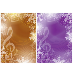 gold and violet flyers with music notes and snow vector image