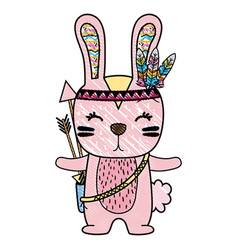 Grated cute rabbit animal with feathers and arrows vector