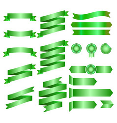 green ribbons isolated on whte background vector image vector image