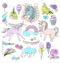Green violet and pink unicorns with sweets on a vector image