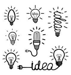 Hand drawn light bulb icons vector