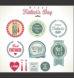 happy fathers day retro badge and labels vector image