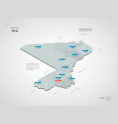 isometric mali map with city names and vector image