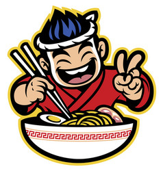 Japanese cartoon chef eating the ramen vector