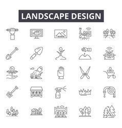 landscape design line icons signs set vector image