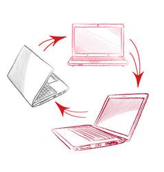 laptop set computers connection concept social vector image