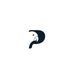 Letter p or initial p for parrot bird logo design vector