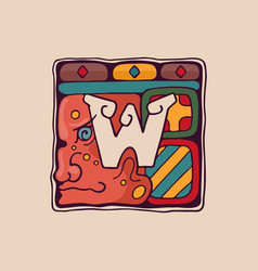 Letter w logo in aztec mayan or incas style vector