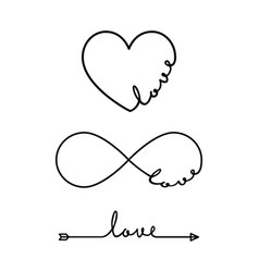 Love - word with infinity symbol hand drawn heart vector