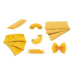 Macaroni pasta icon set realistic style vector