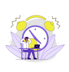 Male character is working on laptop with clock vector