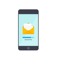 Message send on mobile phone email marketing vector