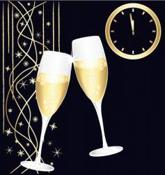 Midnight toast champagne vector