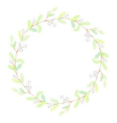 minimal watercolor snow berry christmas wreath vector image