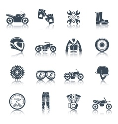 Motorcycle Icons Black Set vector