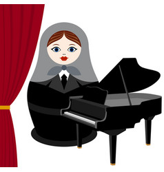 musician with a grand piano vector image