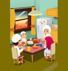 muslim family eating dinner at home vector image