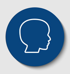 People head sign white contour icon in vector