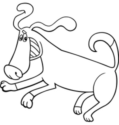playful dog cartoon for coloring book vector image