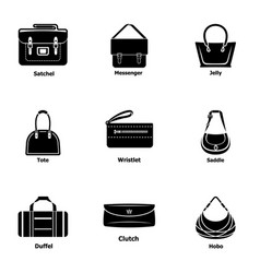 pocketbook icons set simple style vector image