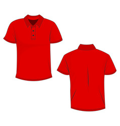 red polo template in front side and back views vector image