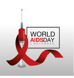 Red ribbon and syringe with blood to aids day vector