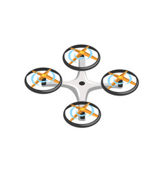 Remote controlled drone with four orange vector