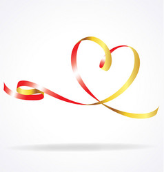 Ribbon heart gold and red vector