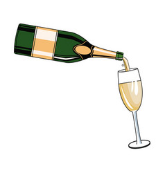 serving champagne on cup pop art vector image