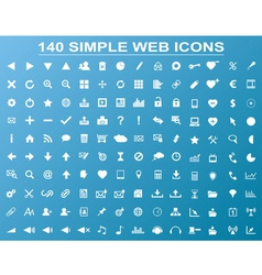 Set of 140 simple white navigation web icons vector