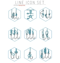 Set of fishing hooks line icons with vector