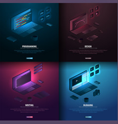 set of freelance profession - programming design vector image
