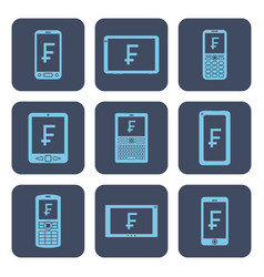 Set of icons - mobile devices with frank symbols vector