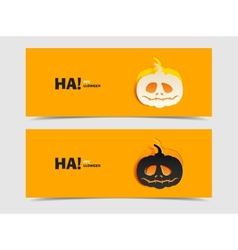 Set of two banners with pumpkin cut out vector