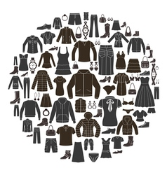 set women s and mens clothing icons vector image
