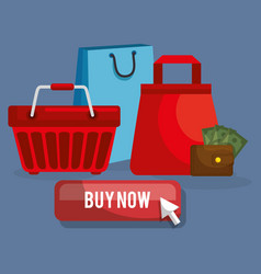 shopping online set icons vector image